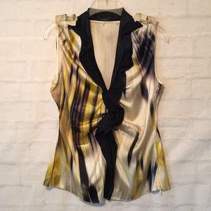 Elie Tahari sleeveless silk stretchy V neck top